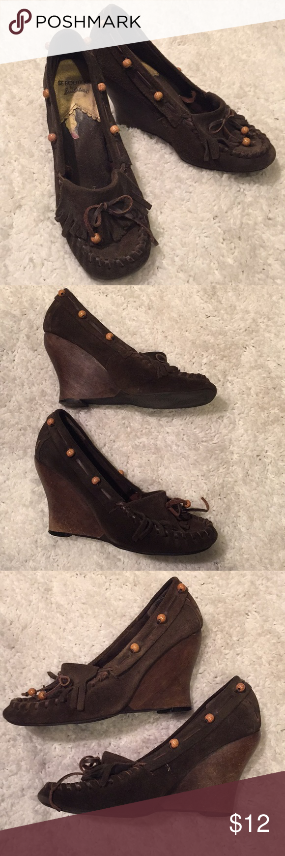 86d983a0c6535 Size 6 Sam Edelman brown leather wedge moccasins These have been worn. See  pictures for