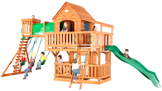 Woodridge II Wooden Swing Set , #kidsbackyardswing #Set