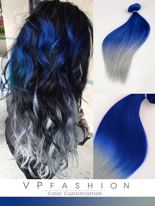 Blue and silver ombre colorful indian remy clip in hair extensions blue and silver ombre colorful indian remy clip in hair extensions cs040 pmusecretfo Images