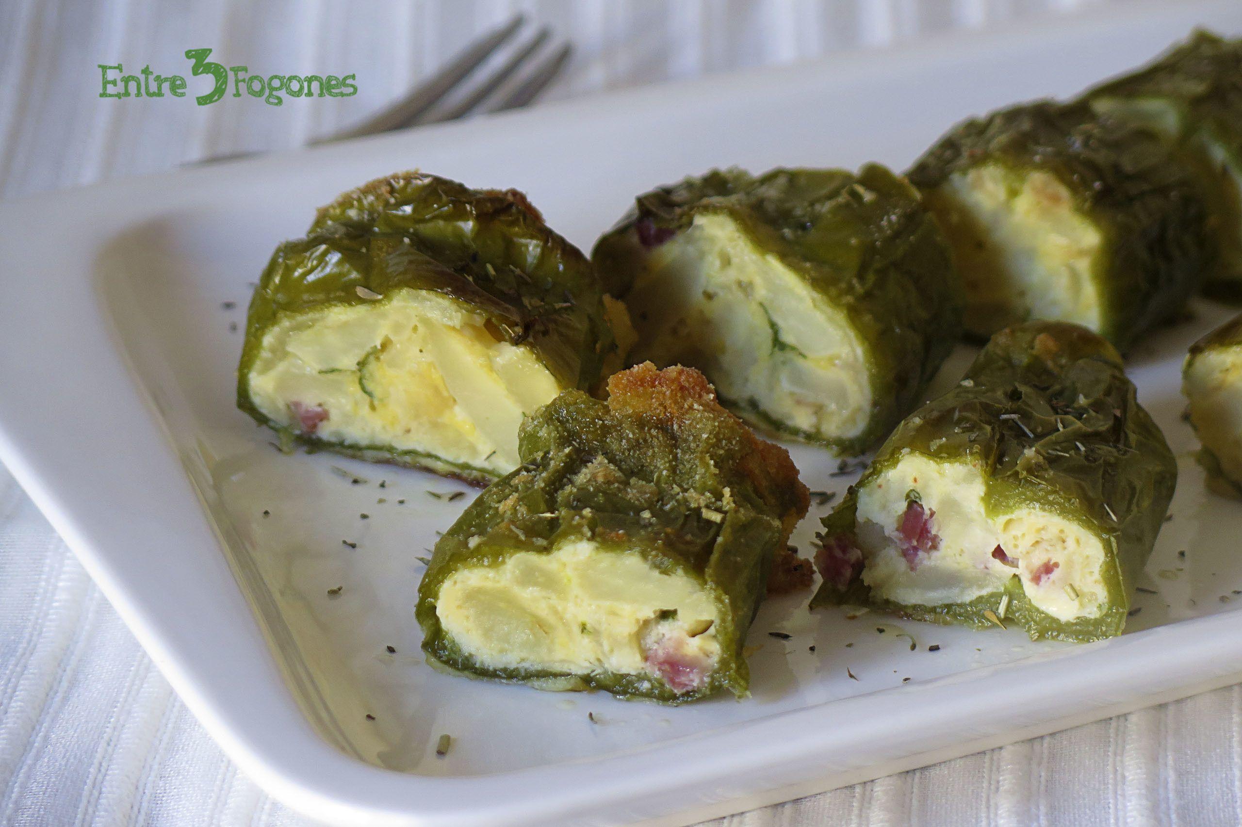 Pimientos Verdes Rellenos De Tortilla De Patatas Con Jamón