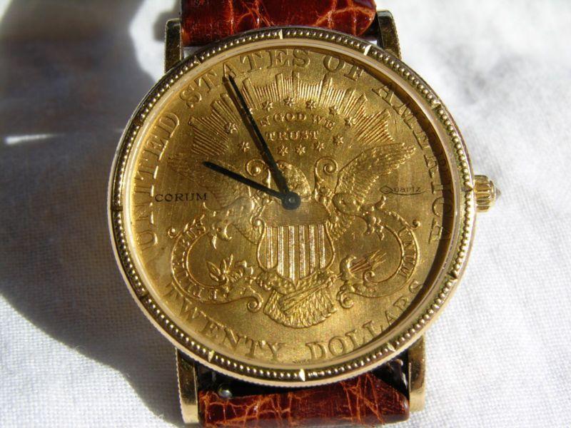 af753c5d74a4 Corum  20 twenty dollar gold coin watch 18K