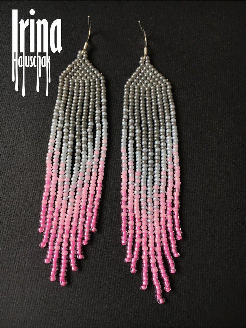 yellow and pink ombre earrings boho fashion earrings gradient yellow beaded earrings long seed bead earrings bohemian pink long earrings