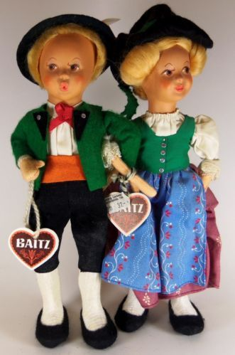 "Vintage 9"" BAITZ Boy & Girl Doll Set Aussie Austria Costume Travel Whistling Tag"