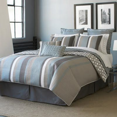 Image Detail For Comforting Shades Of Blue Ivory And Gray Give This Bedding A Soft Bedroom Colors Contemporary Bed Design Grey And Teal Bedding