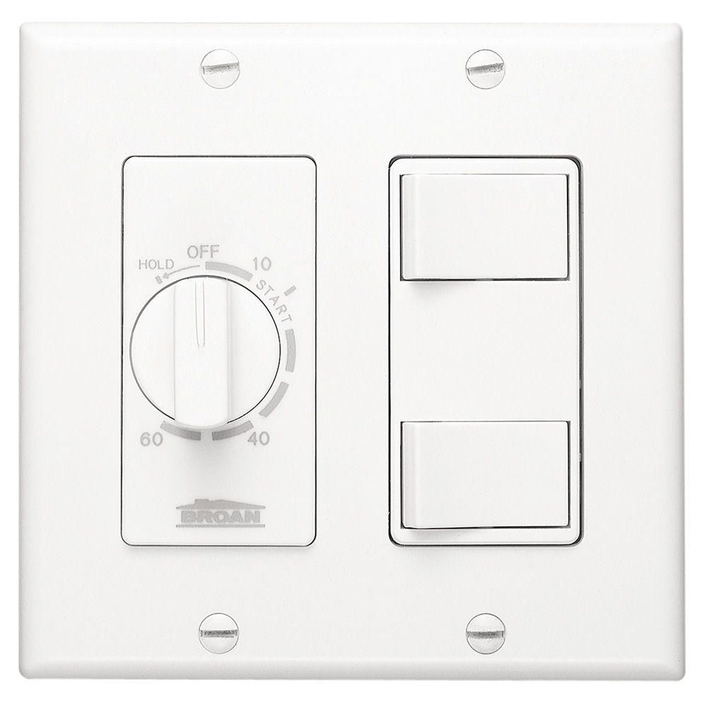 Broan Nutone 20 Amp 60 Minute In Wall Dial Timer With 2 On Off Rocker Switches White 62w Broan Home Depot Switches