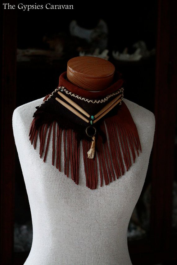 ~Mantras of Peace~ A hand stitched elk leather fringe necklace. With added hand stained bone hair pipes, turquoise beads, a single buffalo