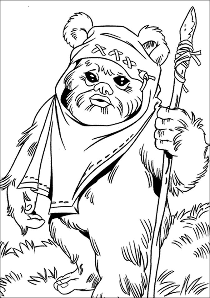 star wars princess leia coloring pages | ewok and leia colouring ...