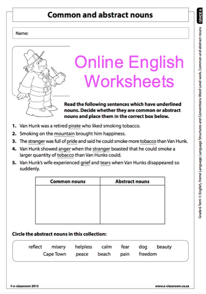 Grade 6 Online English Language Worksheets, Abstract Nouns and ...