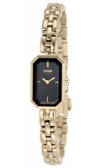 Montre Citizen Eco-Drive Femme EG2752-54E, boîtier et bracelet en acier  dorés avec cadran rectangulaire noir, mouvement solaire écologique. cb73982dc0d5