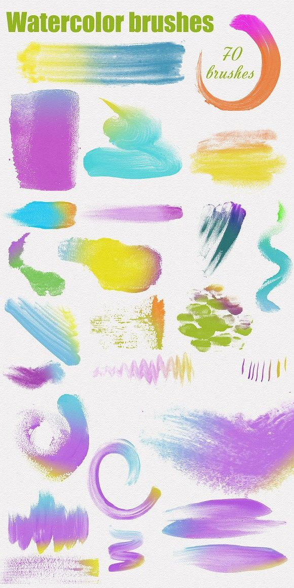 70 High Res Watercolor Ps Brushes Brushes Photoshop Brushes