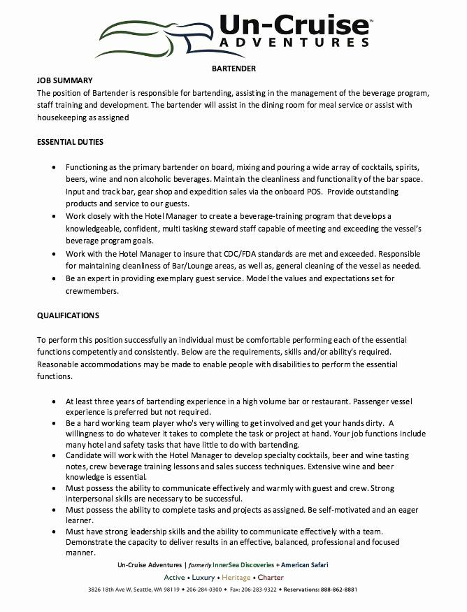 Bartender Job Description Resume Awesome 12 Best 7 16 2017