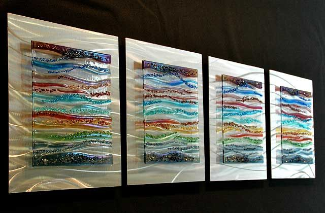 Contemporary Glass Wall Art Fused Glass Metal Wall Art By Kim Merriman Art Glass Art Glass Wall Art Fused Glass Art