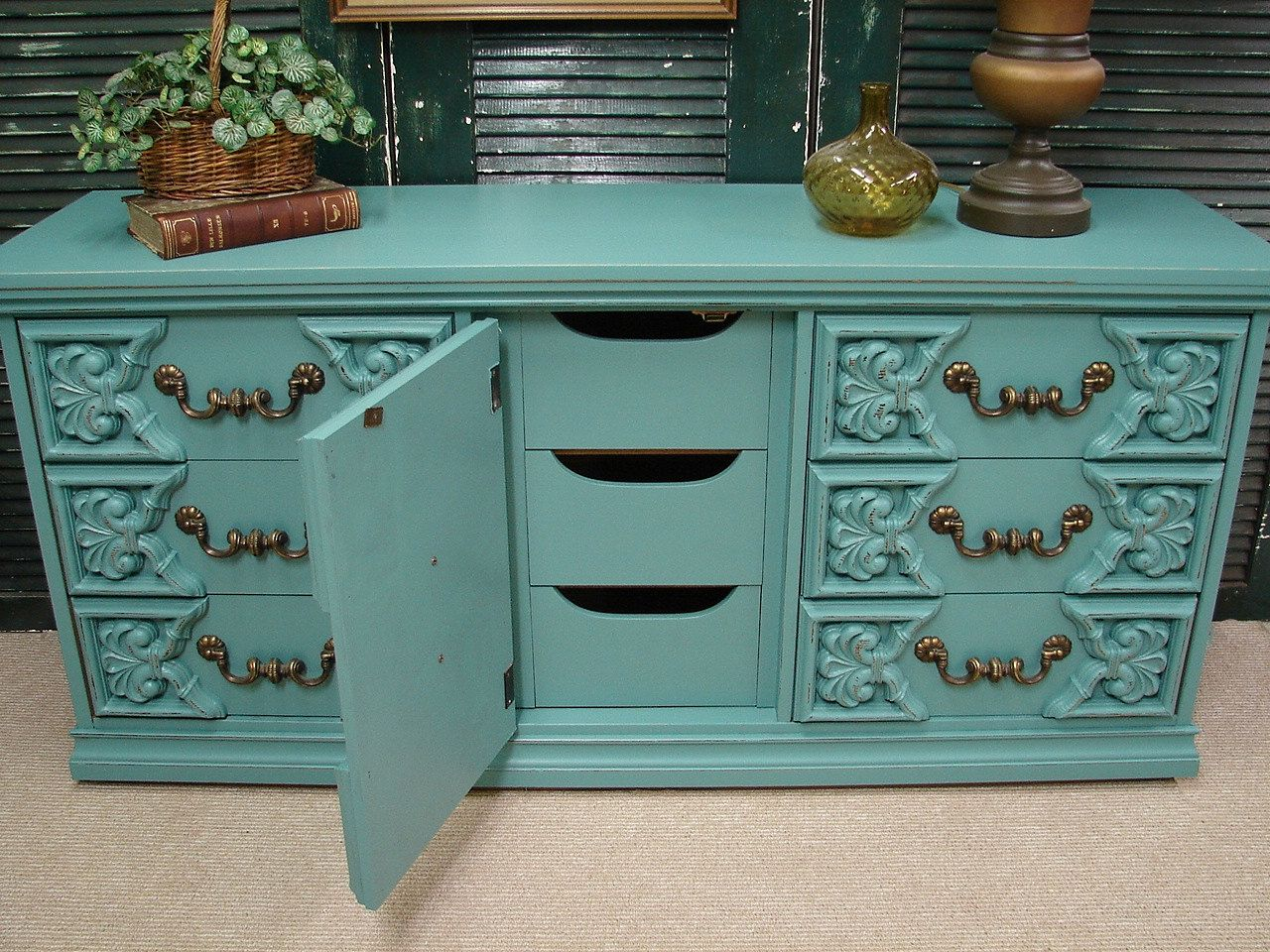 Reclaimed Vintage Robin Egg Blue Paint Ornate 60s Long ...