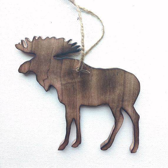 Moose Ornament - Moose Christmas Ornament - Wood Moose Ornament
