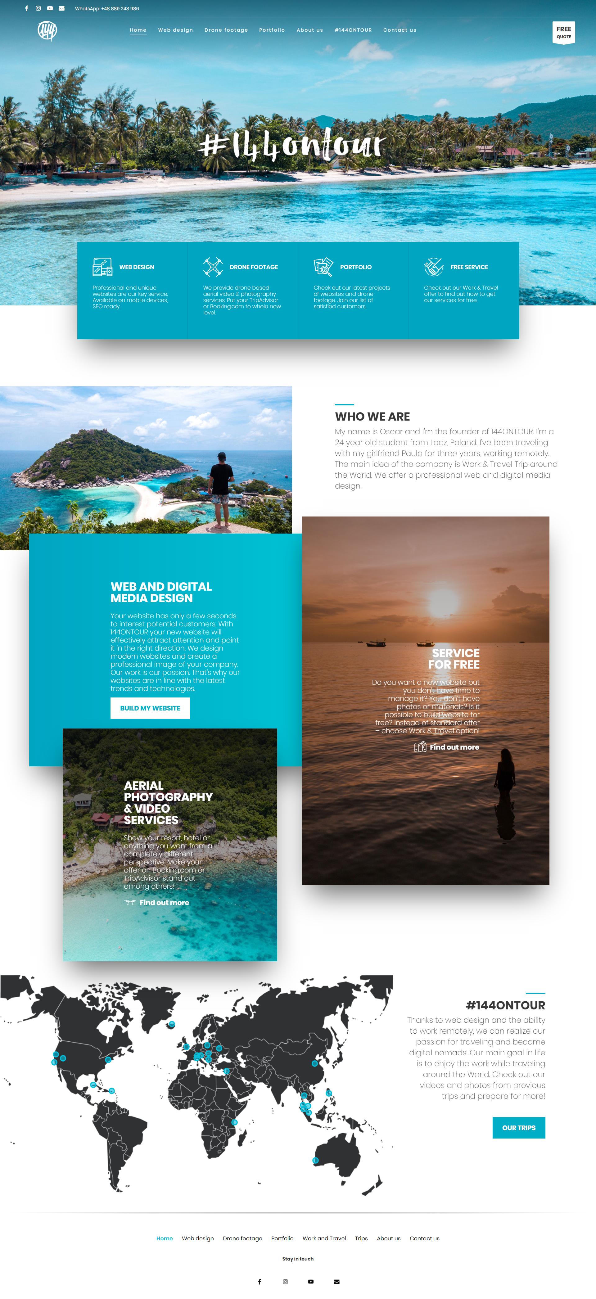 144ontour Travel Web Design Drone Footage On Behance Dizajn Interfejsa Dizajn Sajta Maket Sajta