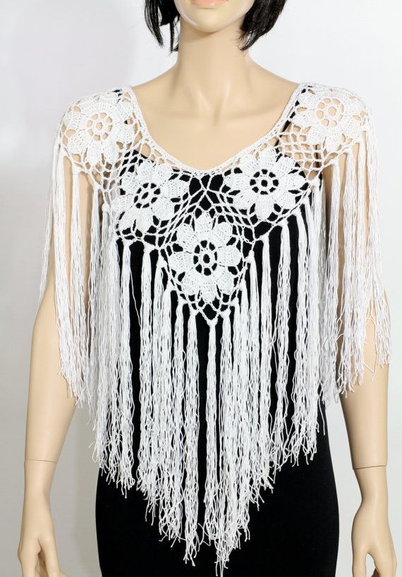 Wedding poncho cape pattern Crochet poncho pattern Fringe | Chales y ...