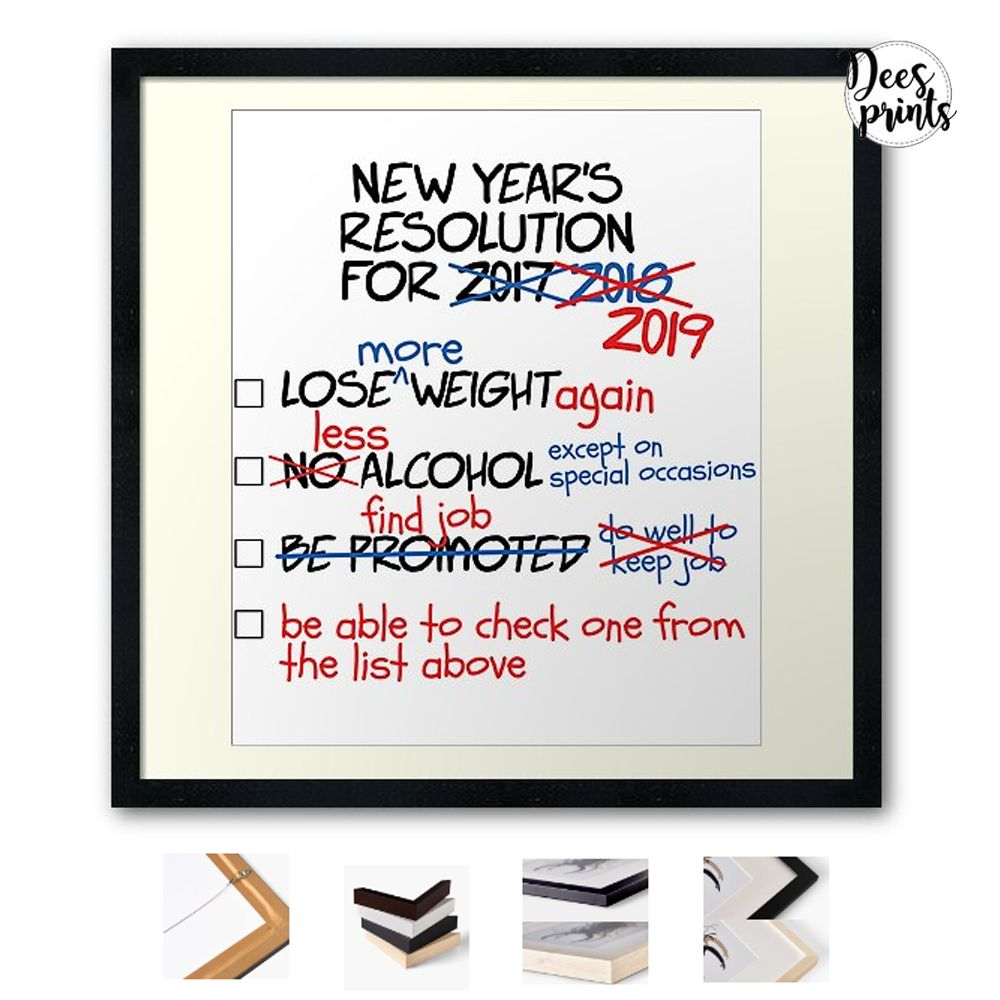 Funny 2019 New Year's Resolution List New Year 2019