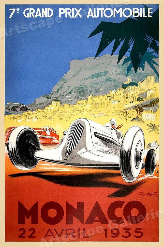 20x30 Monaco Grand Prix Vintage Style Poster 1936 Automotive Poster