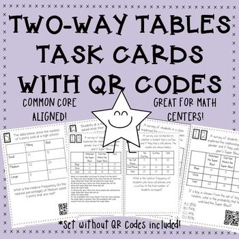 Two Way Tables Interpreting Data Task Cards With Or Without Qr Codes Middle School Math Resources Task Cards Coding