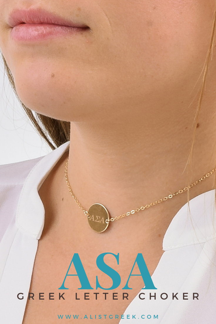 Alpha Sigma Alpha Circle Choker  AList Greek Designs The perfect choker to add to any necklace layer This Alpha Sigma Alpha circle choker is the perfect necklace that com...