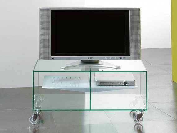 Glass Tv Stand With Wheels E Box Porta Tv Mobili Porta Tv