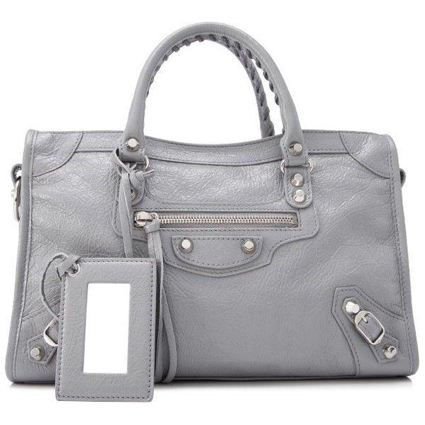Balenciaga Classic Silver Small City 1 640 Liked On Polyvore Featuring Bags Handbags Grey Bag Shoulder Strap