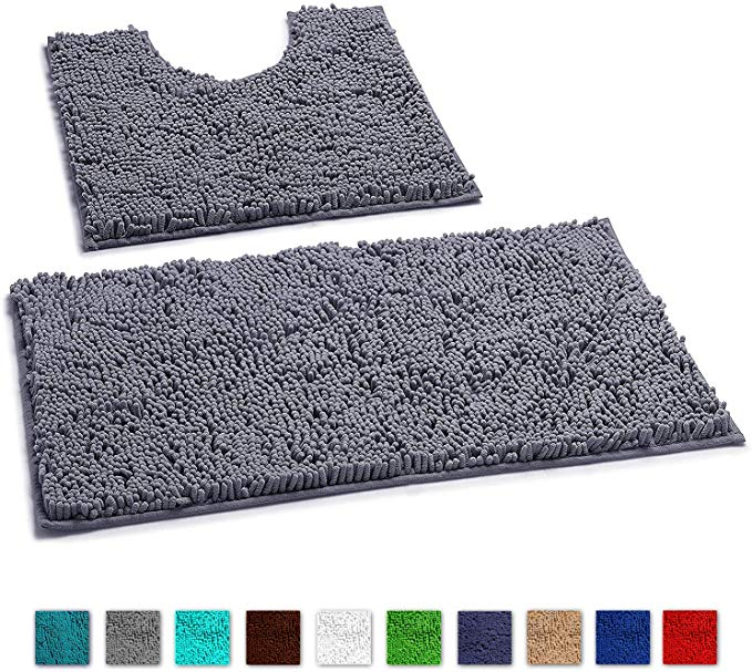 Amazon Com Luxurux Bathroom Rugs Non Slip Super Soft Chenille Luxury Bath Mat Contour Set Soft Plush Shower Rug Toi In 2020 Bathroom Rugs Bath Rugs Luxury Bath Mats