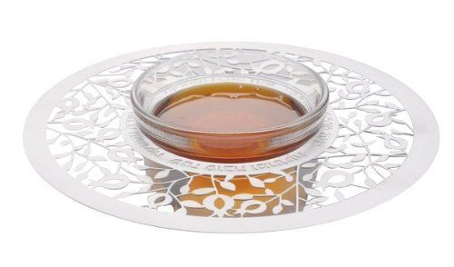 Shana Tova Umetukah Pomegranate Shaped Glass Plate With Honey Dish