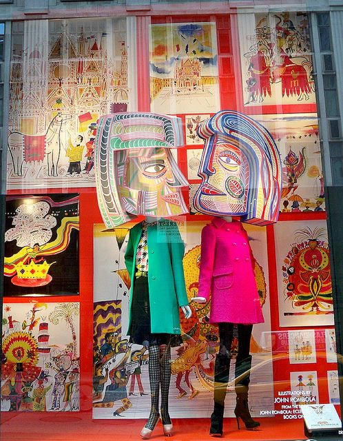 Window display at Bergdorf Goodman featuring illustrations by John Rombola from his book John Rombola: Eclectic Eccentric.