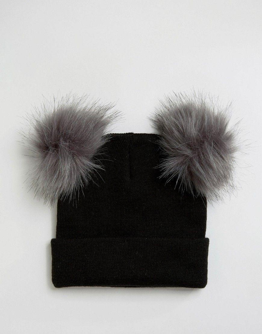 ea015d72233 New Look Double Faux Fur Pom Pom Beanie Hat