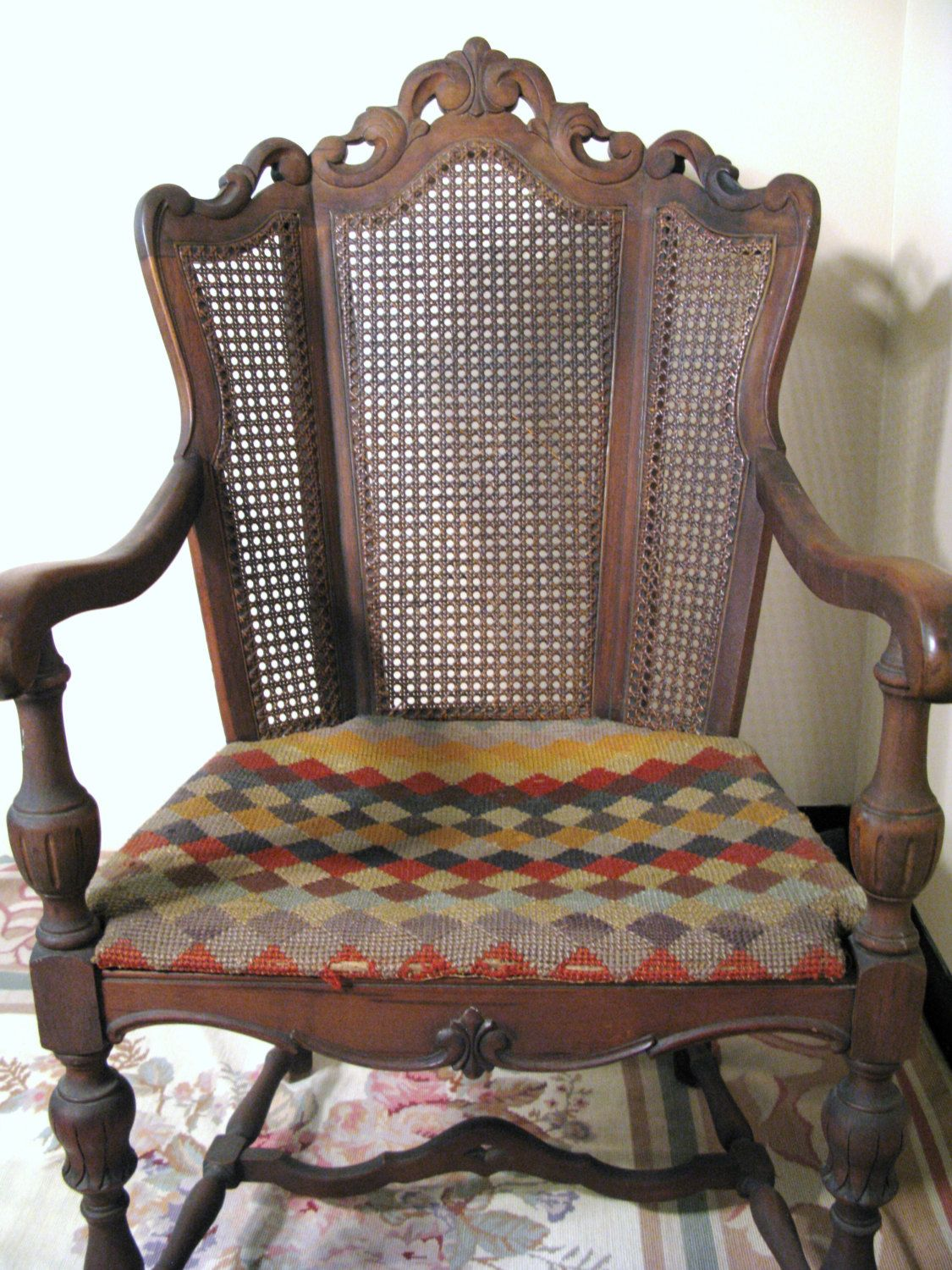 INDIANAPOLIS FURNITURE COMPANY ~ Antique Wooden Wicker Caned Chair ~  Beveled Back Rest ~ Maple Wood - INDIANAPOLIS FURNITURE COMPANY ~ Antique Wooden Wicker Caned Chair