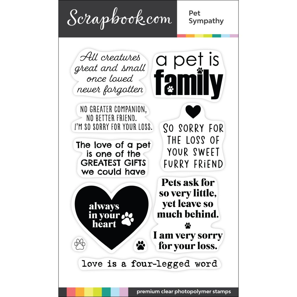 Clear photopolymer stamp set pet sympathy pet sympathy