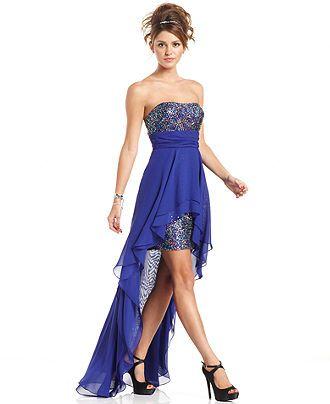 Hailey Logan Juniors Dress, Strapless Sequin High-Low - Juniors ...