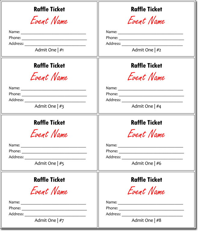 20 Free Raffle Ticket Templates With Automate Ticket Numbering Raffle Ticket Template Free Raffle Tickets Template Ticket Template Free