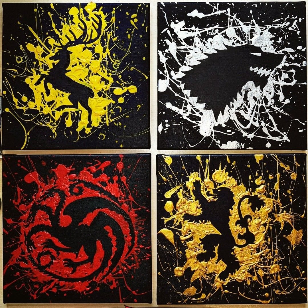 Game Of Thrones Paintings Colorful Splatters On Black Canvas Got