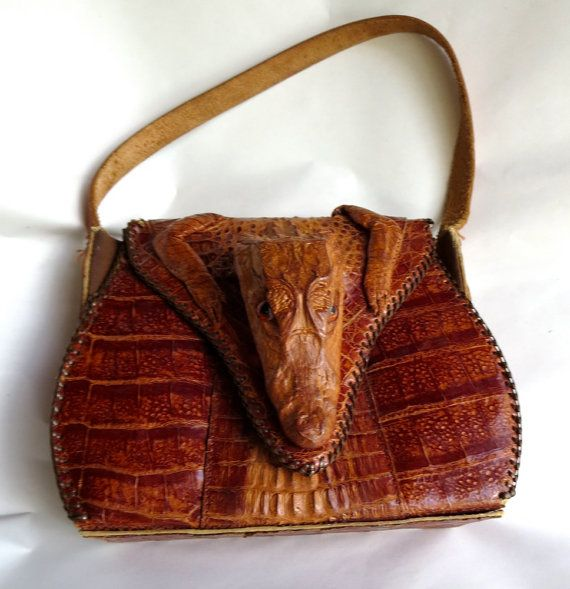 5c8fa067da9226 1940s vintage antique Alligator Caiman purse handbag Aligator, head, feet,  reptile, lizard, crocodile, taxidermy, gothic on Etsy, $85.00