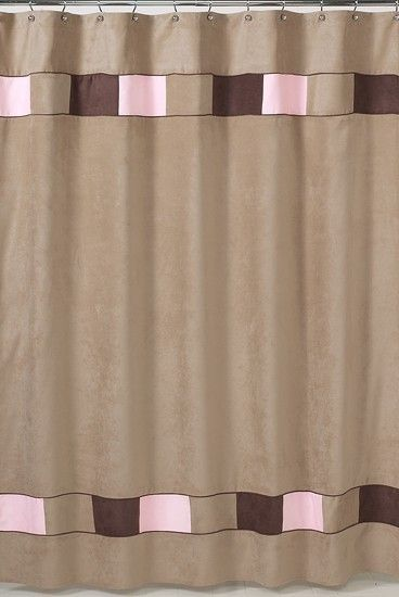 Soho Pink And Brown Fabric Bath Shower Curtain For Kids Bathroom