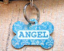 Personalized Aqua Damask Pet ID Tag - CUSTOM - Dog Tag, Collar Tag, Pet Identification, Key Chain