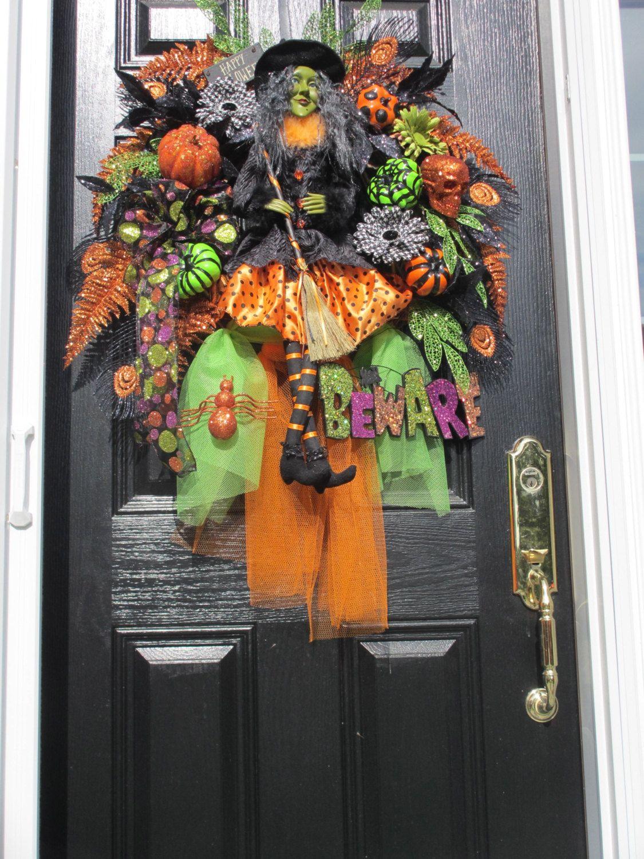 Halloween Wreath,Witch Wreath, Door Wreath,Green faced Witch,Hand - halloween front door decor