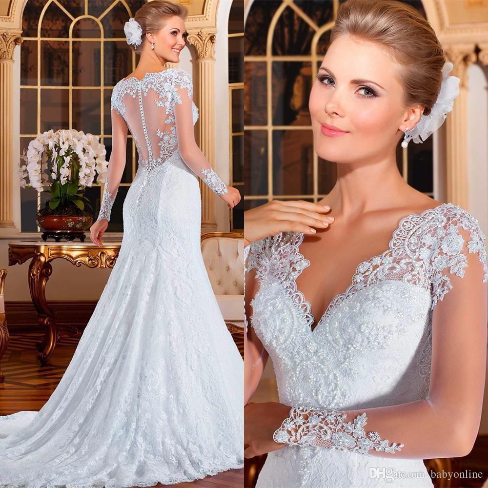 Vestidos full lace long sleeves mermaid wedding dresses elegant