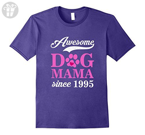 Mens Awesome Dog Mama Since 1995 Funny 22nd Birthday T-Shirt Large Purple - Birthday shirts (*Amazon Partner-Link)
