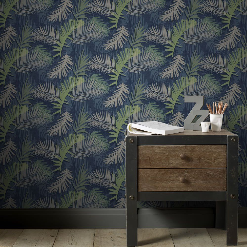 Boutique Jungle Glam Blue and Green Wallpaper Glam