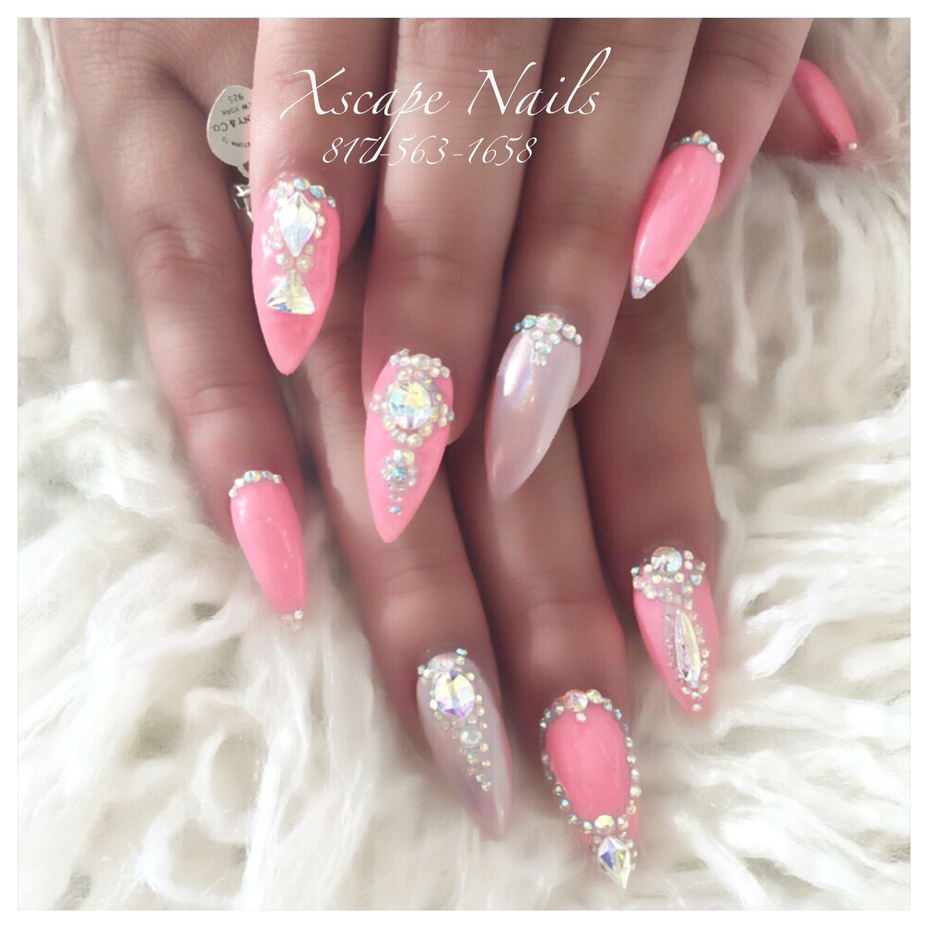 Blue glitter ombr 233 stiletto nails - Pink Chrome Lace Nails