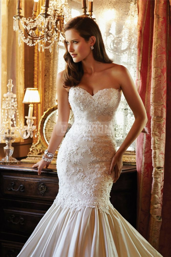 Sweetheart Chapel Train Empire Trumpet Taffeta,lace Wedding Dress