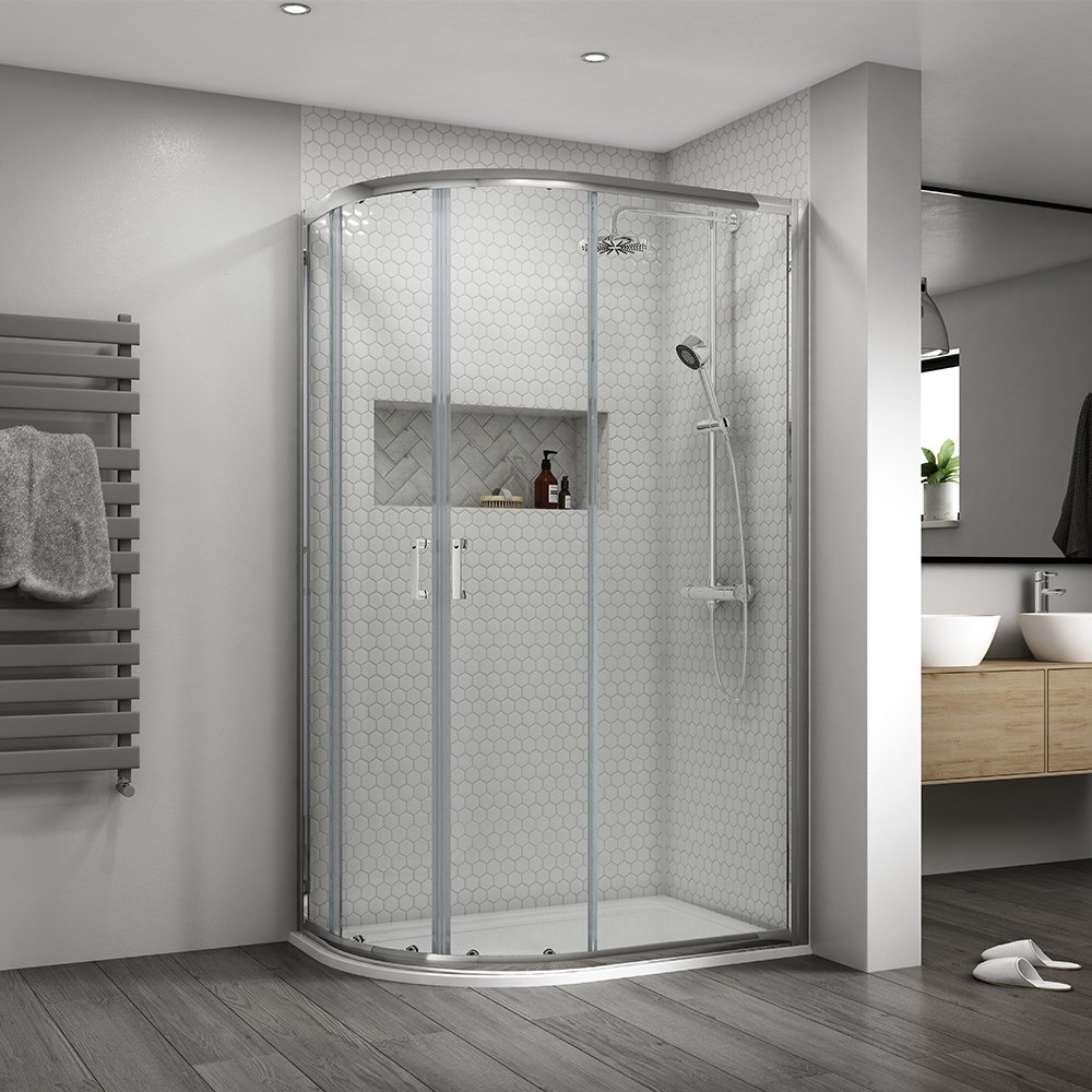 Aqualux Shine 8 Offset Quad Shower Enclosure 1200 X 800 Double Sliding Silver Clear Frameless Shower Enclosures Shower Enclosure Quadrant Shower