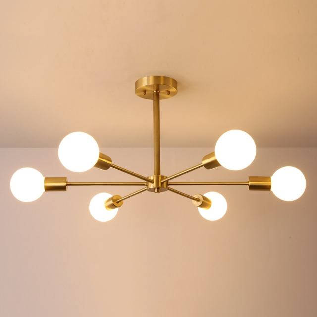 Free Shipping Nordic Modern Branching 6 8 Light Bedroom Semi Flush Mount In Gold Ceiling Lights Bedroom Light Fixtures Bedroom Ceiling Light Gold Ceiling Light
