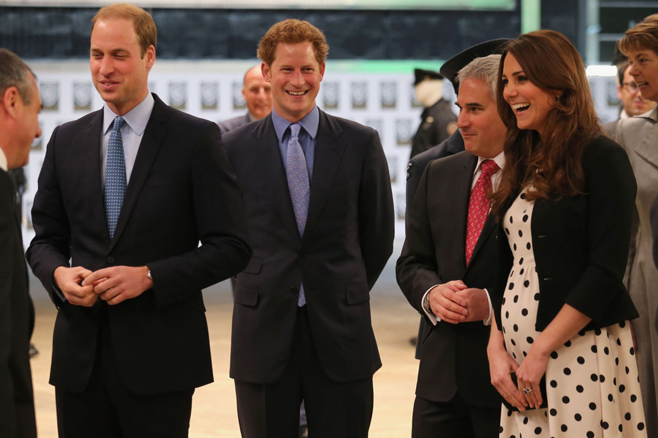 The Duke and Duchess of Cambridge, Catherine and Prince Harry during their visit to Warner Bros studios in Leavesden