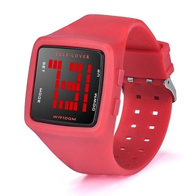 2017 New Fashion Women 5 Bar Waterproof Watch LED Digital Sports Watch Girls Silicone Square Wristwatch