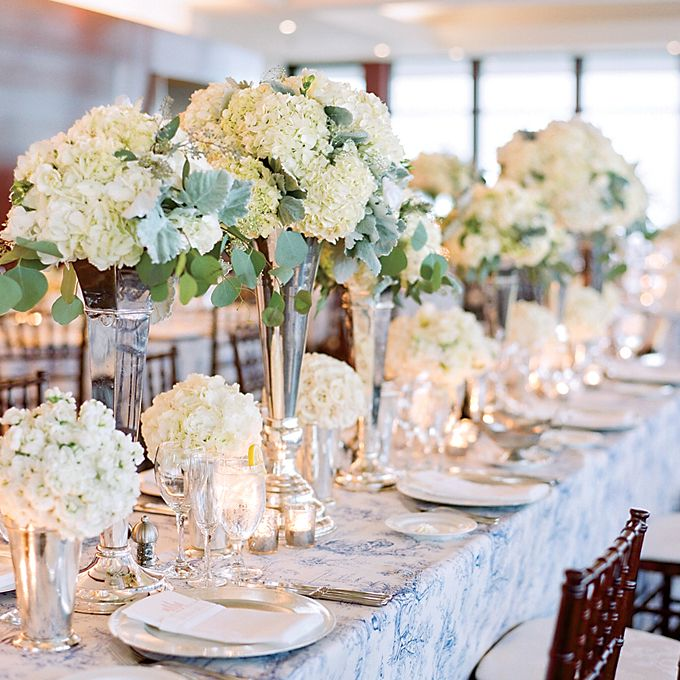 A Nautical White Wedding In Annapolis Tall Vase CenterpiecesHydrangea