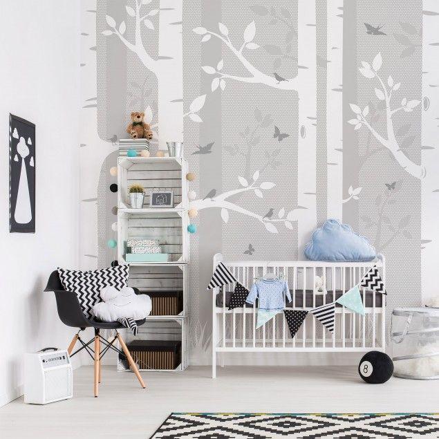 kinderzimmer tapete vliestapete premium birkenwald mit schmetterlingen und v gel grau. Black Bedroom Furniture Sets. Home Design Ideas